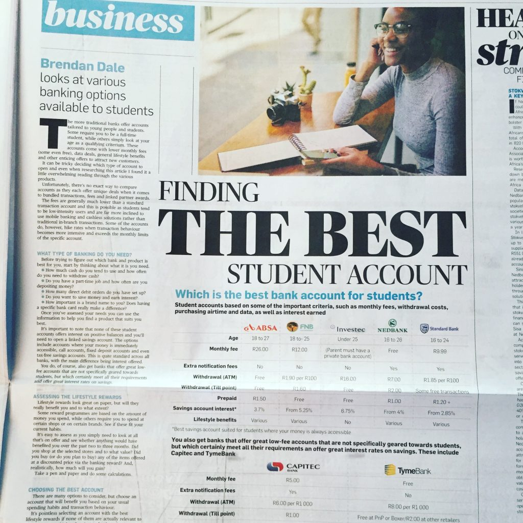 In print. City Press 16 June 2019 : Finding the best Student Account